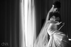 Beautiful bride in a Maggie Sottero gown at her destination wedding at Dreams Riviera Cancun.  Mexico wedding photographers Del Sol Photography