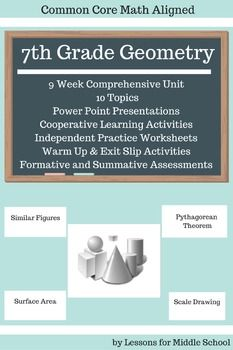 This is a comprehensive and complete unit for teaching all of the 7th Grade Common Core Geometry Standards.  It can also be used for remediation, review, and enhancement for 6th and 8th Grades  Once you download this unit, you will not have to do anything except make copies for your students and guide them through the lessons, guided notes, practice problems, activities, and projects.