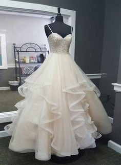 Sweetheart Creamy Tulle Spaghetti Straps Long A Line Prom Dress, Ball Gown from Sweetheart Dress Straps Prom Dresses, A Line Prom Dresses, Cheap Prom Dresses, Day Dresses, Evening Dresses, Bridesmaid Dresses, Formal Dresses, Wedding Dresses, Dresses Online