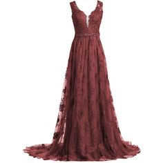 Mermaidtalee Long Lace V-neck Prom Dresses Gowns with Train ❤ liked on Polyvore featuring dresses, gowns, long lace dress, long red evening dress, red gown, long lace gown and long red dress