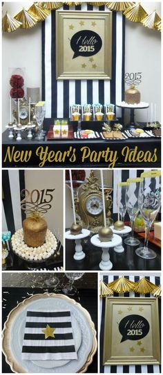 A black and gold New Year's party with lots of sparkle and delicious party food! See more party planning ideas at CatchMyParty.com!