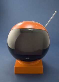 JVC Videosphere television receiver, 1970.    Shaped like a spaceman's helmet, the futuristic JVC (3241UK) Videosphere was first introduced in 1970, and was sold until the early-1980s. Several other space-age TVs were made during the 1970s, including one that resembles a flying saucer. It was popular for its modern design, and the fact that it also included an alarm clock at the base on certain models. The Videosphere could either sit in its curved base, or hang from the ceiling on a chain.