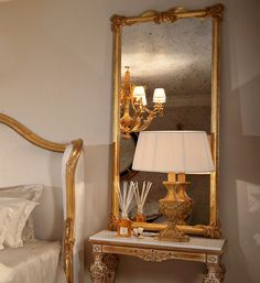 Fabulous style for any room in the house, adding a touch of glamour and style. The Louis XVII Gold Leaf Dressing Mirror is shown here finished in an antique gold leaf with antiqued mirrored glass. Also available with plain or bevelled glass. Made to a high standard being carved from solid beech wood and painted by artisans to create that original Louis Look. Magical. Classic Furniture, Luxury Furniture, Dressing Mirror, Beveled Glass, Furniture Collection, Gold Leaf, Antique Gold, Carving, Glamour