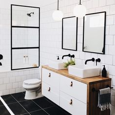 Our bathroom addition reveal + tips on choosing a builder — Mountainside Home black white brown bathroom I fekete-fehér-barna fürdő Brown Bathroom, Downstairs Bathroom, Bathroom Renos, Remodel Bathroom, Black And White Bathroom Ideas, Black And White Bathroom Floor, Ikea Hack Bathroom, Small Bathroom With Tub, Ikea Bathroom Vanity