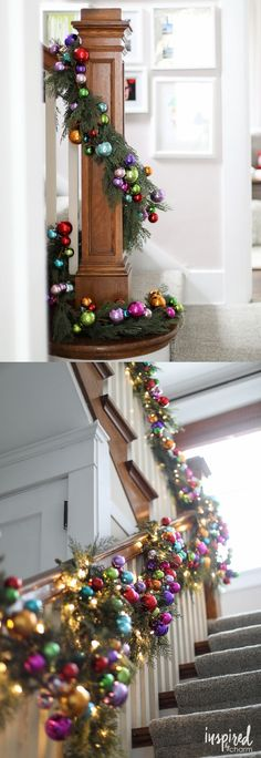 Colorful Christmas Ornament and Pine Banister Garland | Holiday Home Tour 2016 via inspiredbycharm.com