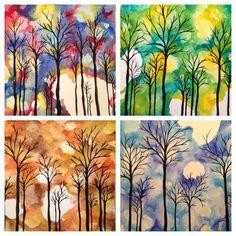 Four Seasons Print Set  Watercolor Trees by lolarachelle on Etsy, $45.00