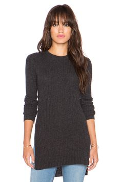 Autumn Cashmere Ribbed Side Slit Tunic in Pepper