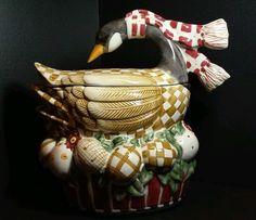 Debbie Mumm 12 days of Christmas Cookie Jar Goose Geese Sakura in Collectibles, Kitchen & Home, Kitchenware | eBay