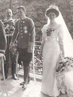 Photo from the wedding of Zita, Bourbon-Parma to Karl, Archduke of Austria on their wedding day on 21st October 1911, wearing her gorgeous diamond tiara.