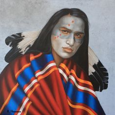 Dreams by Night, 36 x 36, oil on linen    This Plains Indian wears eagle feathers, has his face painted and wears a Trade Blanket or Wearing Robe from the early 1900's.    Trade blankets were among the earliest items of exchange between American Indians and Europeans fur traders in the 1700's.    http://khendersonart2.blogspot.com