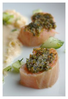 Suger salted salmon with mustard topping