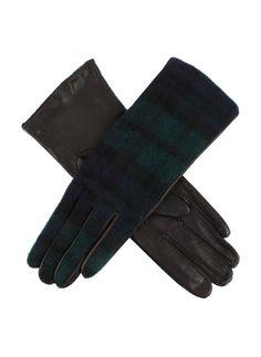Gant femme en cuir de cabretta doublure en soie avec dessus en laine d'agneau motif écossais