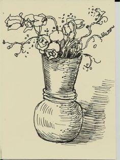Aceo Original Pen Drawing Plant Flower by WildWeedStudio on Etsy $10