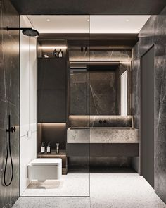 To keep with the modern bathroom style we're going for, pick examples of these items in keeping with the style. interior Why Modern Bathroom is an Icon of Clean Lines and Simplicity - House Topics Modern Bathrooms Interior, Bathroom Design Luxury, Dream Bathrooms, Luxury Bathrooms, Bathroom Modern, Master Bathrooms, Beautiful Bathrooms, Bad Inspiration, Bathroom Inspiration