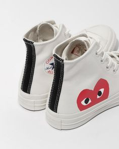 ef3a5eb507524 Comme des Garçons Play Beige Converse Chuck Taylor High Top in White
