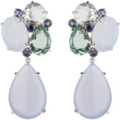 Sterling Silver Green Amethyst, Iolite, Clear Quartz Chalcedony... ❤ liked on Polyvore featuring jewelry, earrings, clear jewelry, earring jewelry, earrings jewellery, clear earrings and chalcedony earrings