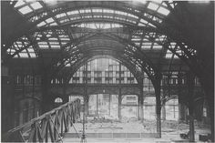 1964-1965: An arched iron structure in Penn Station during demolition.