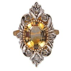Vintage 1850 14k Gold & Silver Step Cut Oval Citrine Rose Cut Diamond Ring