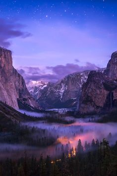 ~~Yosemite Valley - Twilight Fog | Twilight falls quickly on the valley as the last of the storm clouds blow out leaving a layer of fog in the valley illuminated by the traffic of cars driving through the valley following the first snowfall, YNP, California by Darvin Atkeson~~ www.door2wealth.com