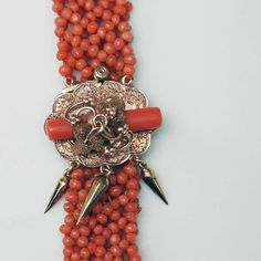 Victorian Beaded Coral Bracelet with 14k Gold by ColletteCollette, $975.00