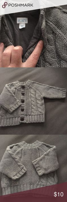 6-9m cable knit sweater VGUC lined gray cable knit sweater. Children's Place. Unisex. Smoke free home. Washed in Dreft Children's Place Shirts & Tops Sweaters