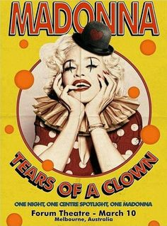 Madonna ~ Tears of a Clown Concert Poster