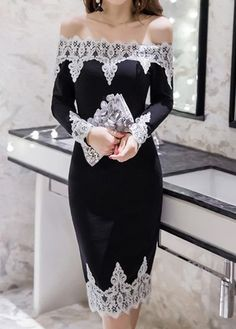 Long Sleeve Lace Panel Back Slit Black Bardot Dress, off the shoulder is so popular in this year and the dentelle looks cute also, perfect for any important occasions, free shipping worldwide and return 30 days without reasons, pick it up at www.rosewe.com.