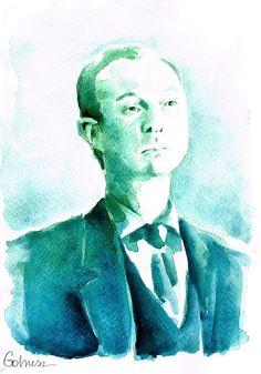 BBC Sherlock John Watson fanart akwarela portret