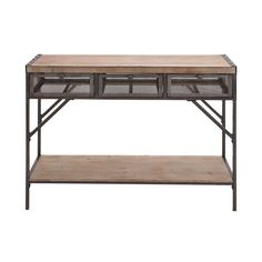 Perfect 3-drawer Wood Metal Console Table (Dcor), Brown