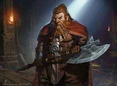 m Dwarf Fighter Heavy Armor Cloak Battle Axe male Fortress underdark Mountains Torbran Thane of Red Fell Magic the Gathering by Greg Rutkowski med Fantasy Dwarf, Fantasy Rpg, Fantasy Artwork, Medieval Fantasy, Fantasy Character Design, Character Inspiration, Character Art, Fantasy Races, Fantasy Warrior