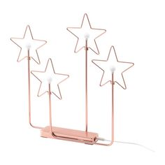 STRÅLA LED-borddekorasjon 4 stjerner, bronsefarget batteridrevet - bronsefarget batteridrevet