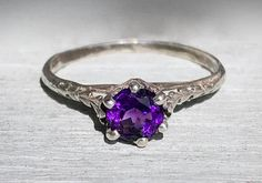 Edwardian Antique NICE Amethyst Sterling Silver Filigree Solitaire Engagement Ring Size 6.75 February Birthstone by AdornedInHistory on Etsy