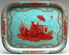 chinoiserie turquoise and terra cotta tôle peinte tray, French c. Turquoise Rouge, Red Turquoise, Aqua, Teal, Painted Trays, Tole Painting, Color Inspiration, Painted Furniture, Decoration