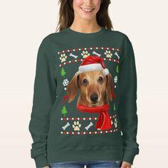 Shop Dachshund Dog Ugly Christmas Sweatshirt created by aashiarsh. Dapple Dachshund Puppy, Dachshund Funny, Dachshund Quotes, Dachshund Shirt, Dachshund Gifts, Dachshund Costume, Puppy Clothes, Portrait, Pets