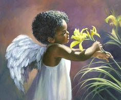 Little Black Angel Print By Laurie Hein