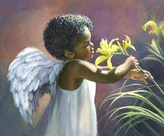 Little Black Angel Print By Laurie Hein Wat een lief klein manneke /Engeltje.    lb xxx.