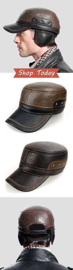 Warm Earflaps PU Leather Flat Cap & Baseball Cap #outdoor #men #menswear