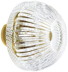 Lead-Free Fluted Round Crystal Knob with Solid Brass Base | House of Antique Hardware