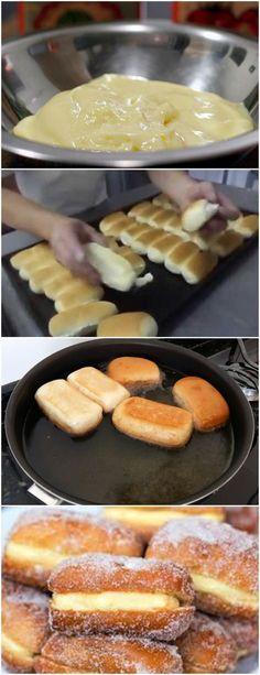 SONHO COM BISNAGUINHA FÁCIL… FICA GOSTOSO IGUAL AO DE PADARIA VEJA AQUI>>>Em uma tigela, coloque a maisena, o leite e as gemas de ovo. Misture bem. Em uma panela, adicione o leite, a manteiga, o açúcar e misture até ferver. #receita#bolo#torta#doce#sobremesa#aniversario#pudim#mousse#pave#Cheesecake#hocolate#confeitaria