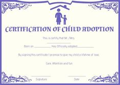 Child Adoption Certificates: 10 Free Printable And with Fresh Child Adoption Certificate Template – Amazing Certificate Template Ideas Blank Certificate Template, Award Template, Printable Certificates, Free Pet Adoption, Step Parent Adoption, Adoption Papers, Plastic Playing Cards, Adoption Certificate, Step Parenting