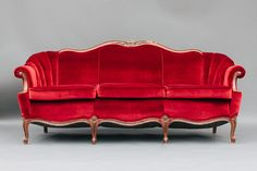 Vintage Red Velvet Sofa