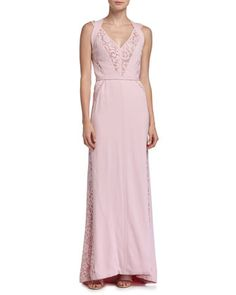 Sleeveless Lace-Inset Gown, Rose Clair by J. Mendel at Neiman Marcus.
