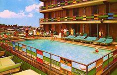 Summertime, Poolside!  Aristocrat Motel  Atlantic City, NJ 1960s    Edge and corner wear