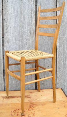 Mid Century modern chair, woven seat