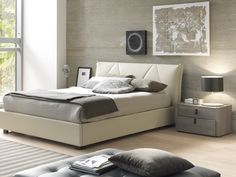 """Creative Furniture Esprit Bed  - Eco-leather bed grey color in Queen size. Dimensions: Queen Bed: W85"""" x L63 ½"""" x H37 ½"""" ."""