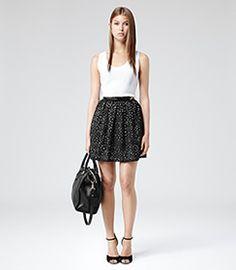 Belle Black/white Cut Out Technique Skirt - REISS