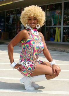 1970s Costume, 70s Fashion, Gogo Dancer Costume, Vintage Costume, Disco Costume, Saturday Night Fever, Dallas Costumes, Dallas Vintage, Halloween Costumes, Afro Wigs, Dallas Wigs