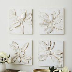 Magnolia Plaques - Set of 4 ballard Plaster Art, Plaster Crafts, Magnolia Flower, Magnolia Wreath, Family Room Design, Ceramic Flowers, Ballard Designs, Handmade Home Decor, New Wall