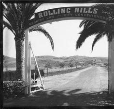 Entrance, Rolling Hills, Palos Verdes. 1937. :: Photographs