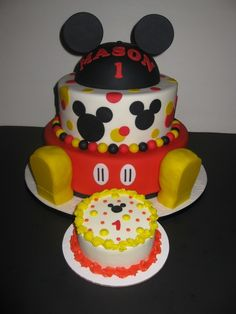Mickey Mouse 1st birthday Cakes with shoes   Mason's Mickey Mouse Birthday Cake & Smash Cake - The House of Cakes
